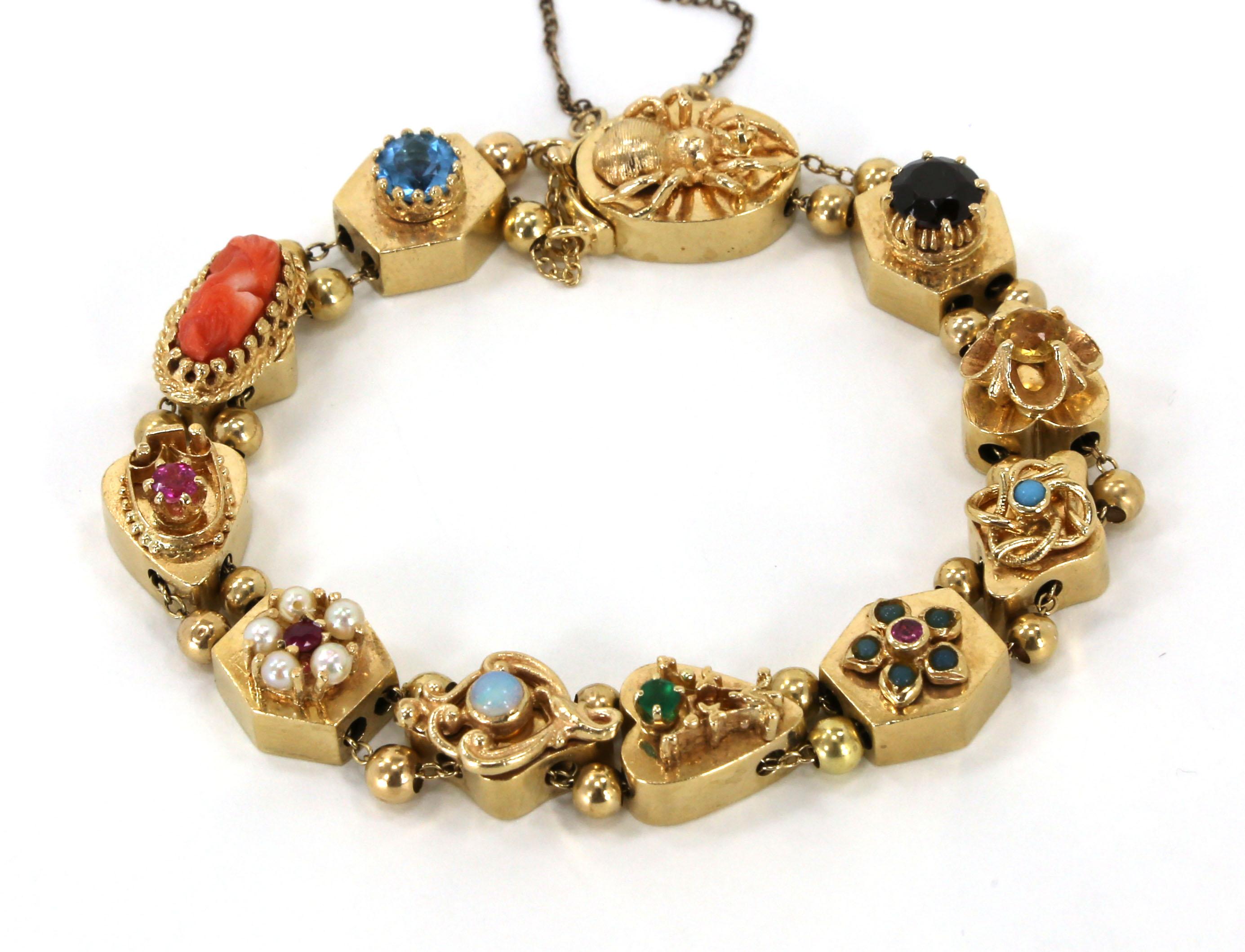exquisite vintage 14k gold gems slide charm