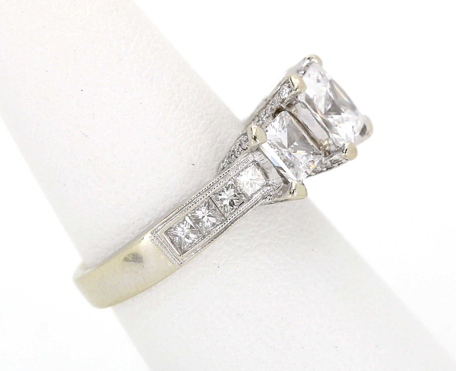 SOLID 14K WHITE GOLD 3 STONE CZ SOLITAIRE RING W 94 PTS DIA LADIES RING