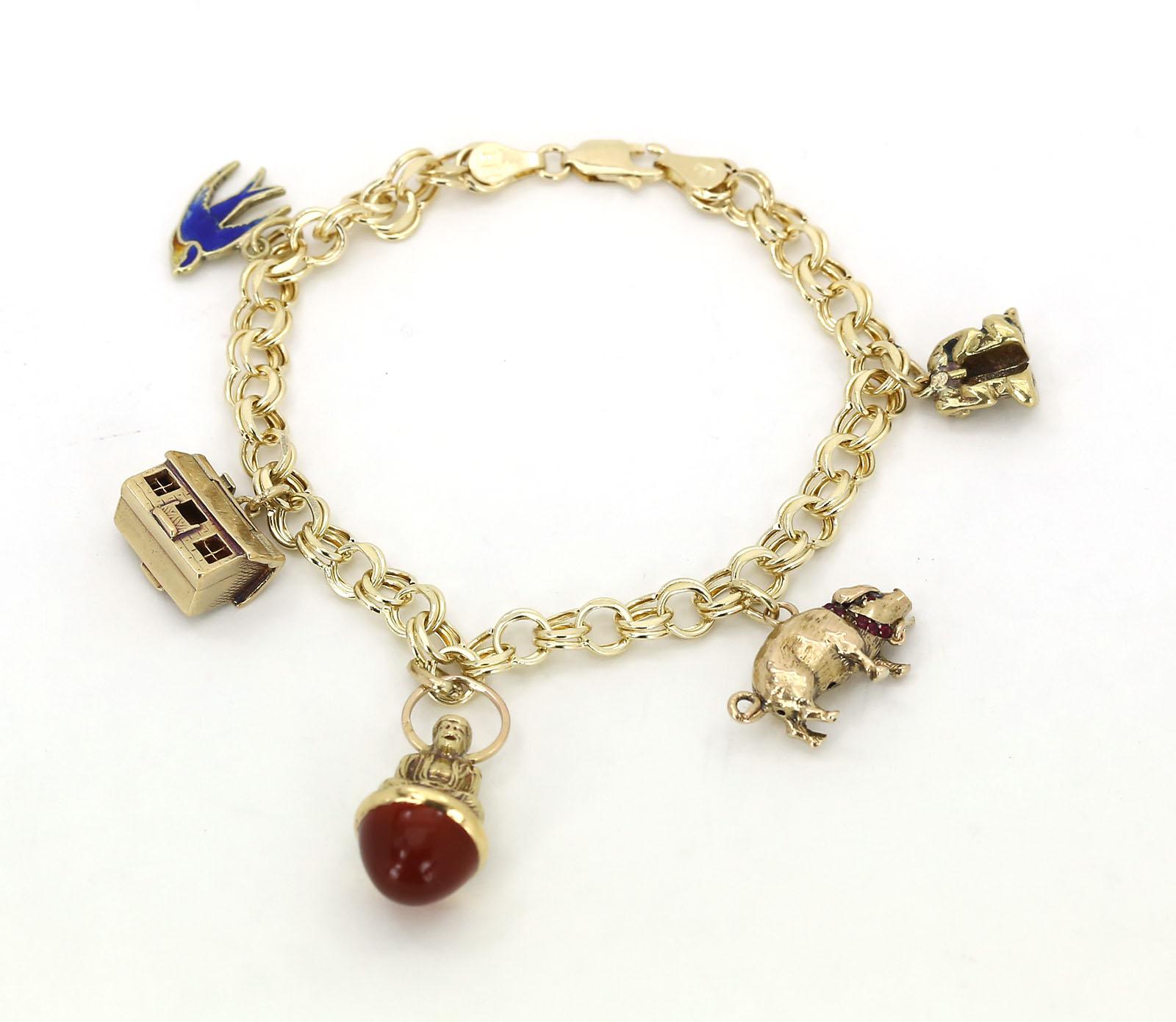 14k Yellow Gold Charm Bracelet: VINTAGE 14K YELLOW GOLD DOUBLE LINK CHARM BRACELET W/ 5