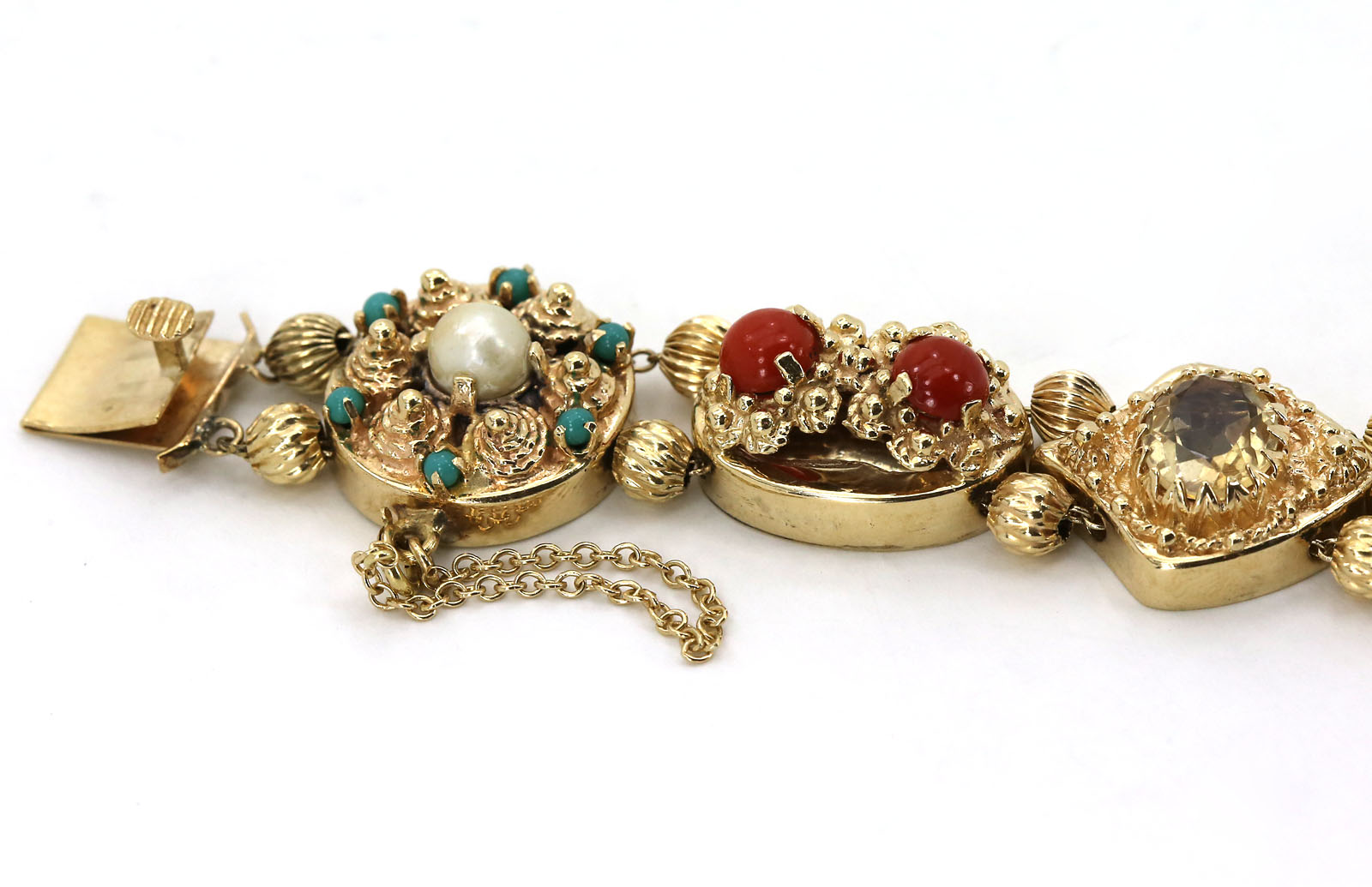 vintage 14k yellow gold mixed gems intricate