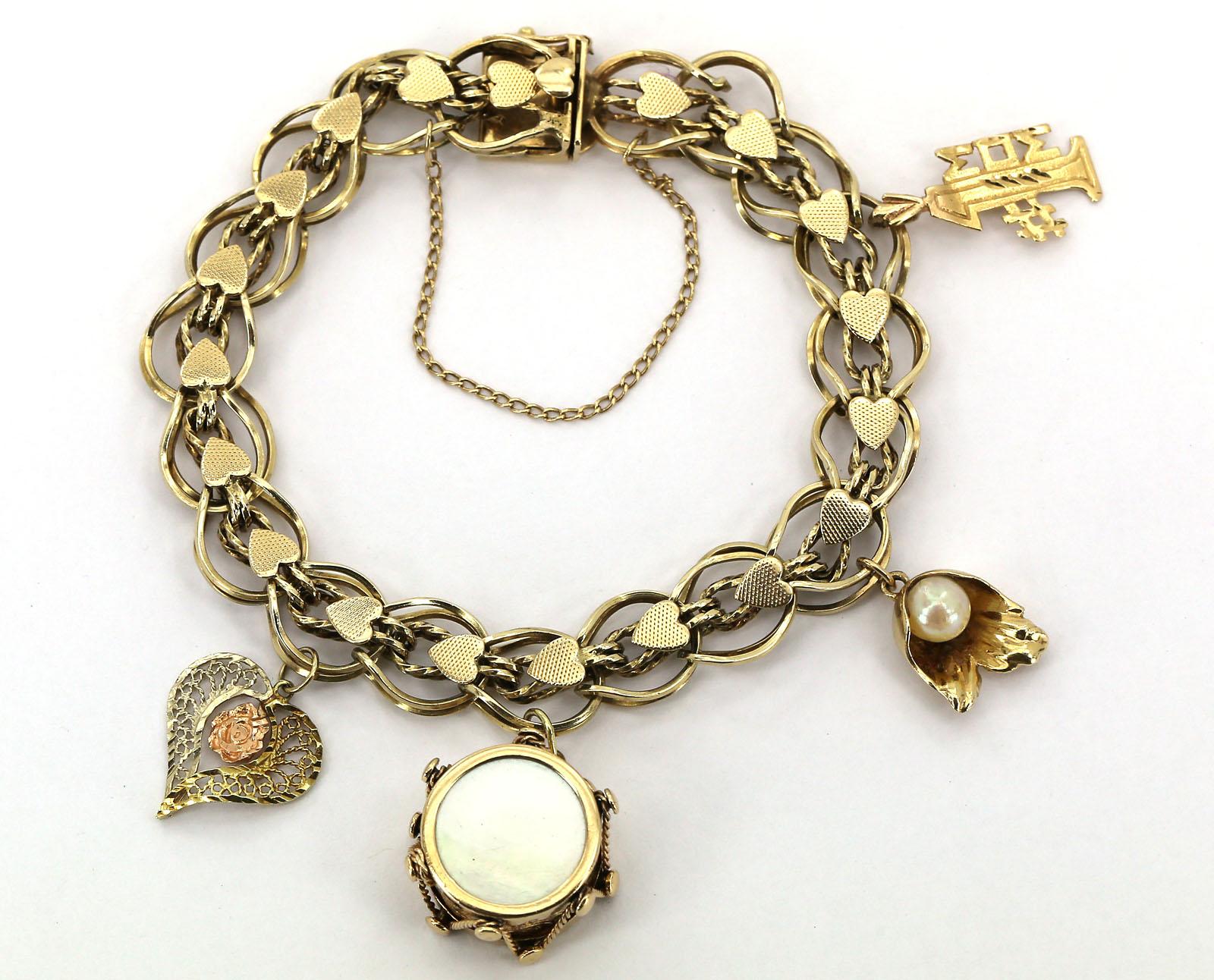 vintage 14k yellow gold motif charm bracelet w 4 3d