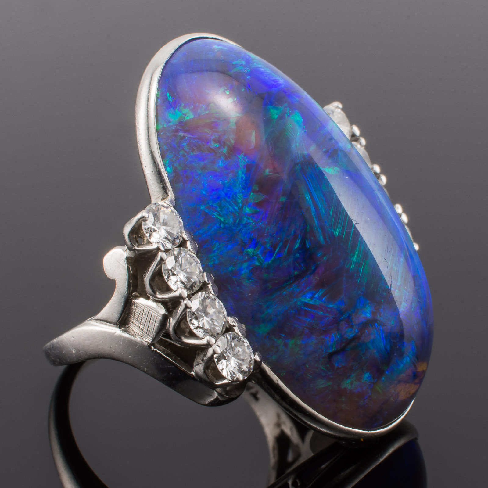 Platinum Black Opal Ring Rare One Of A Kind Gia