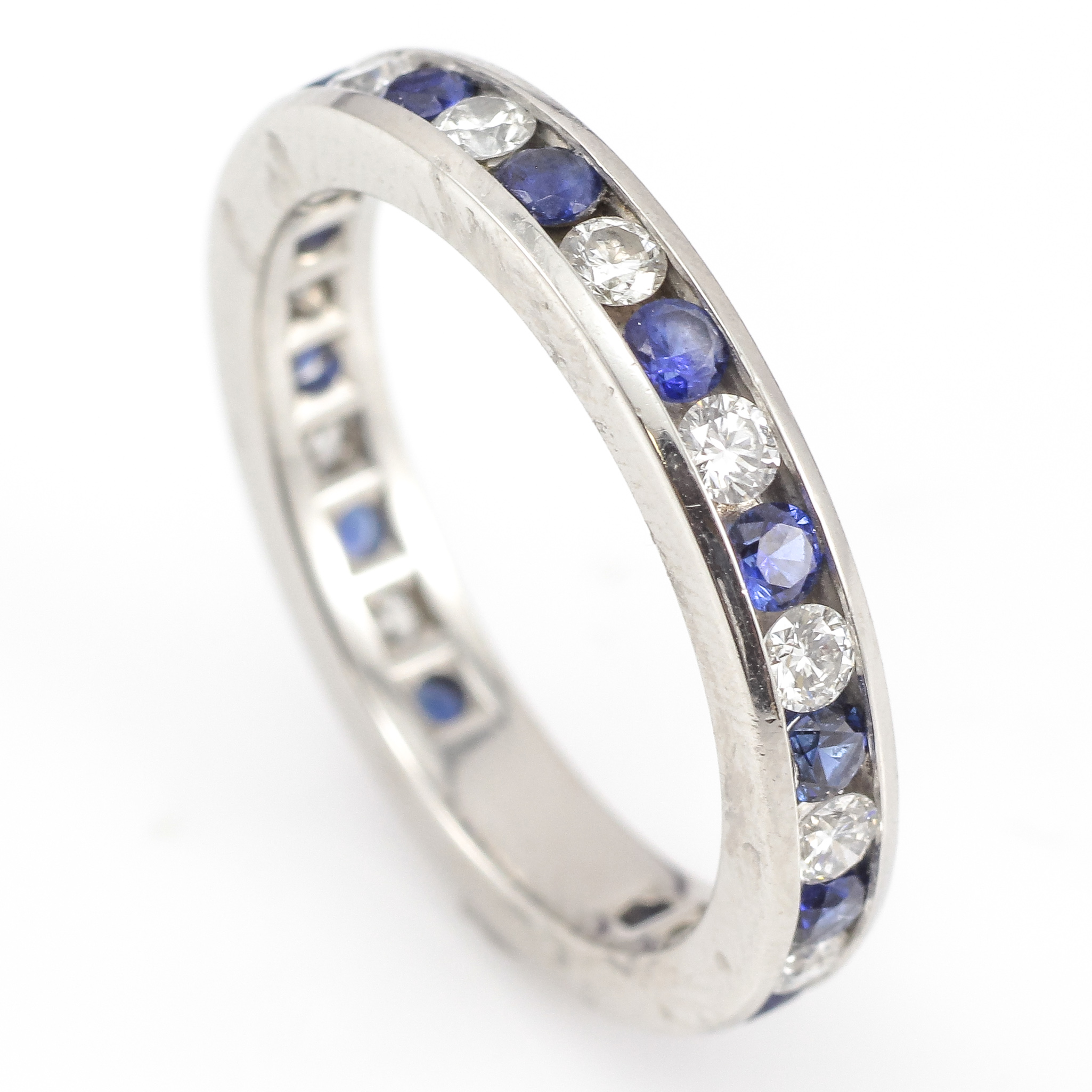 wedding sapphire blue band daussi alternating and diamond bands henri
