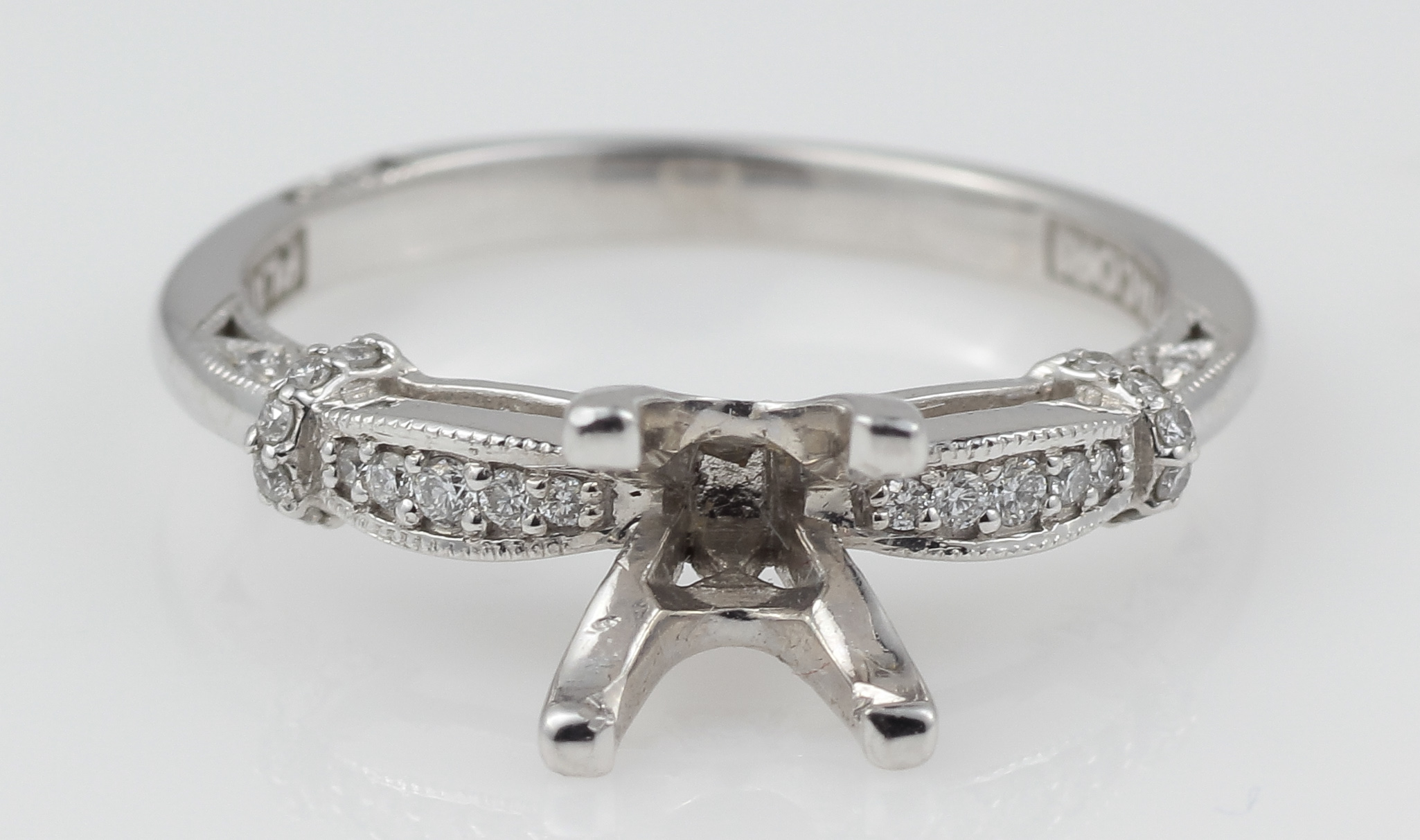 d0b5521af6739 Details about Platinum Tacori Ring Diamond Semi-Mount Raised Gallery Simply  Tacori