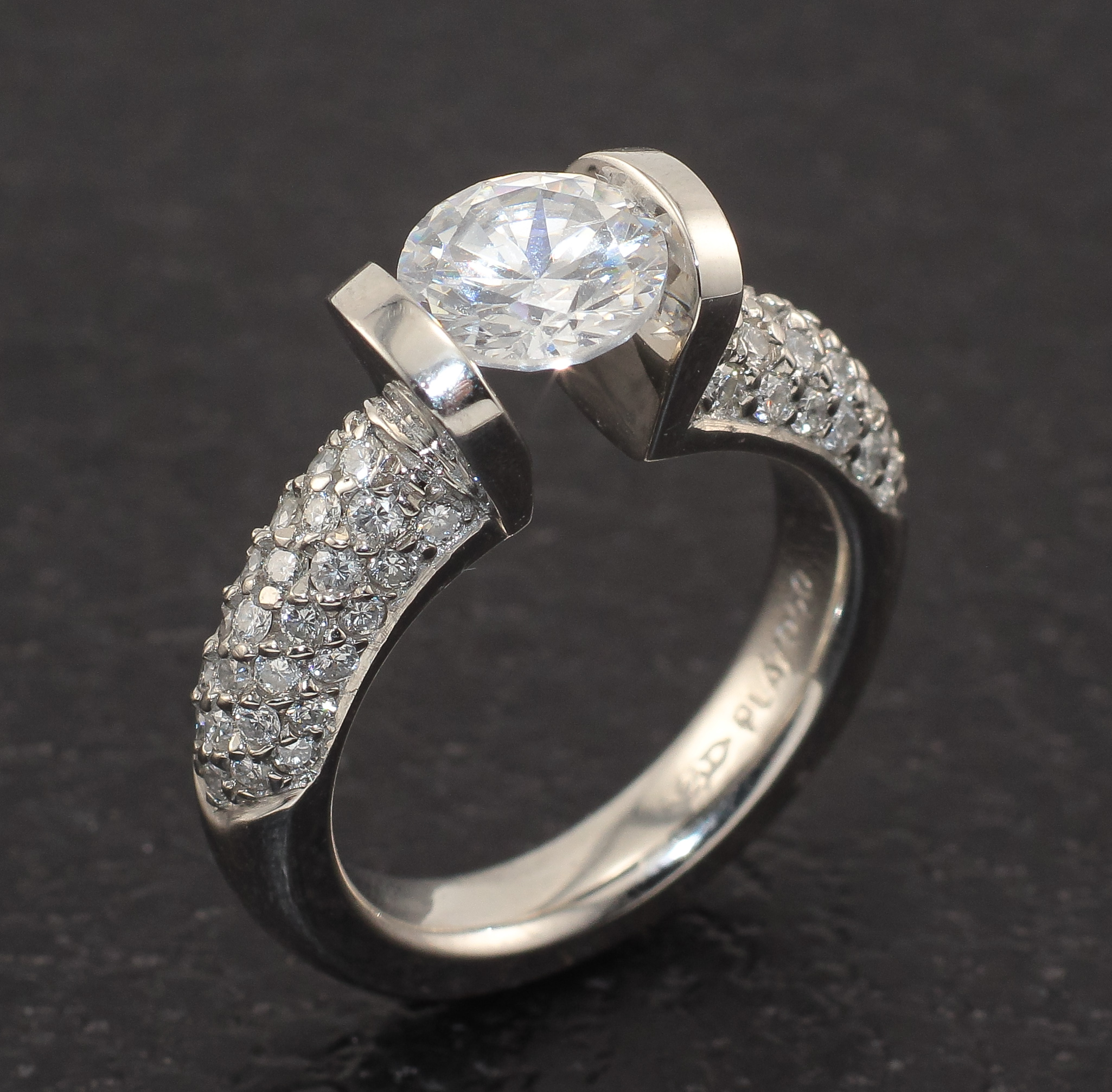 tension ring pave setting diamond itm engagement a set rings ebay platinum
