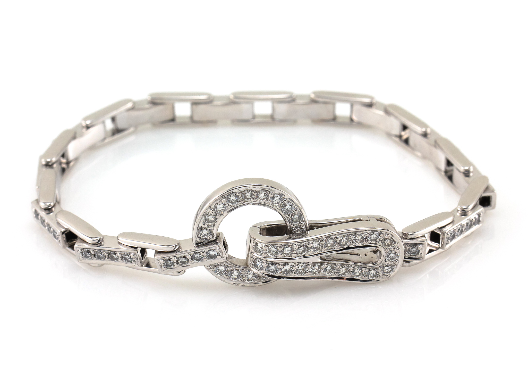 09c847291bc 18K Diamond Link Bracelet White Gold Fold Over Clasp