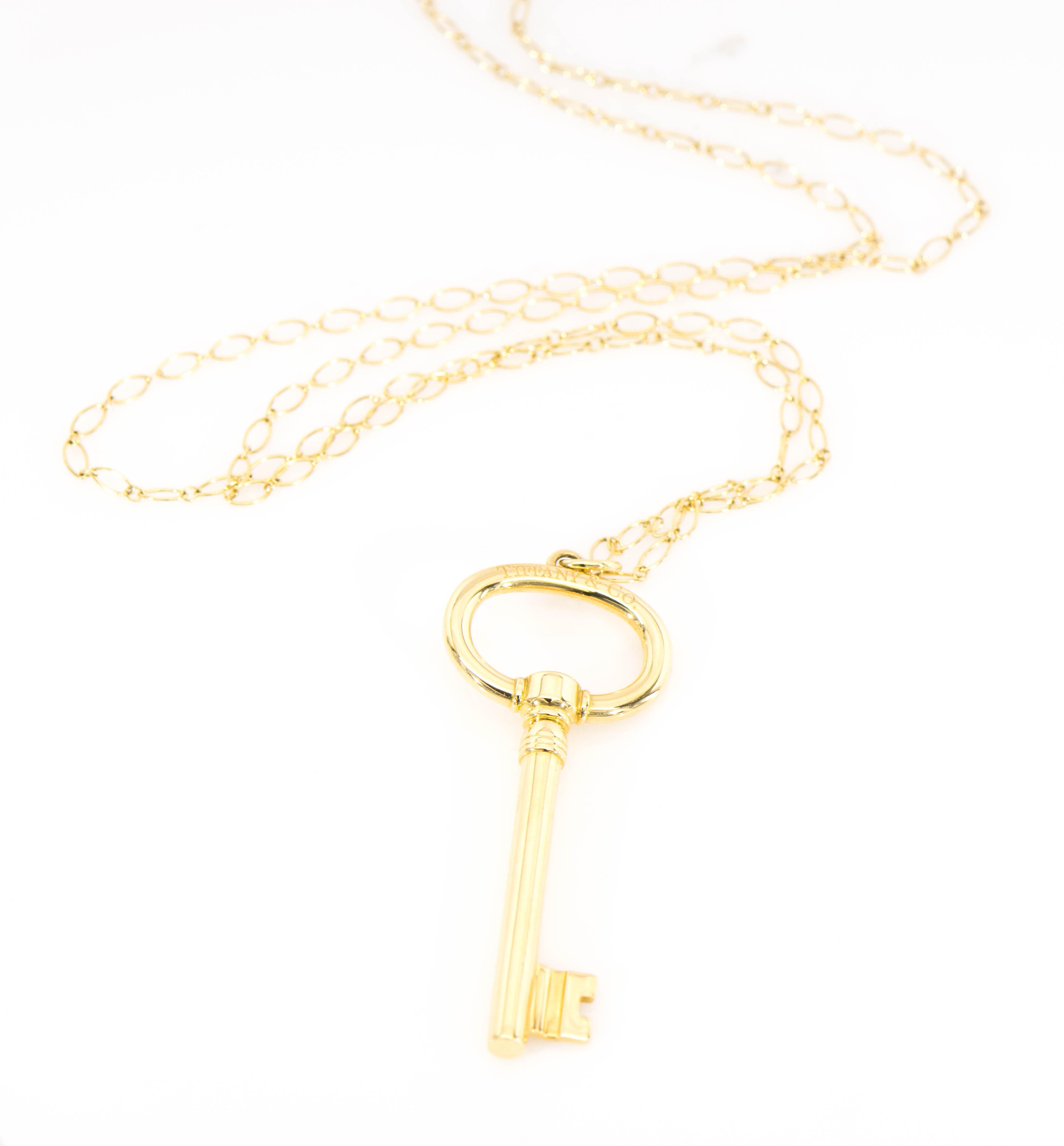 c8f3c77a6 18KY Tiffany & Co. Key Pendant Necklace | eBay