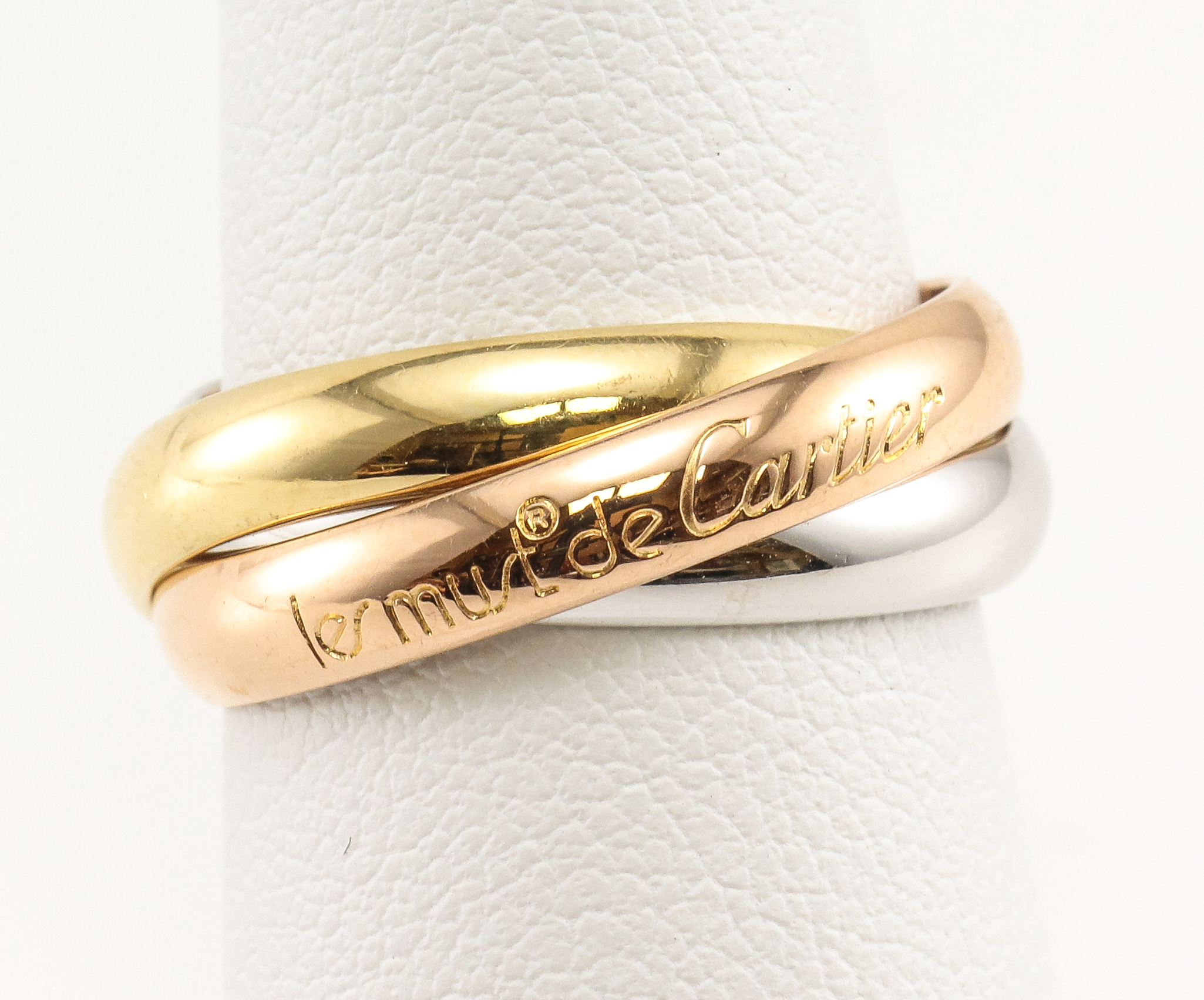 78ad97204155 Les Must de CARTIER Trinity 18K Tricolor Yellow White Rose 750 Gold Band  Ring