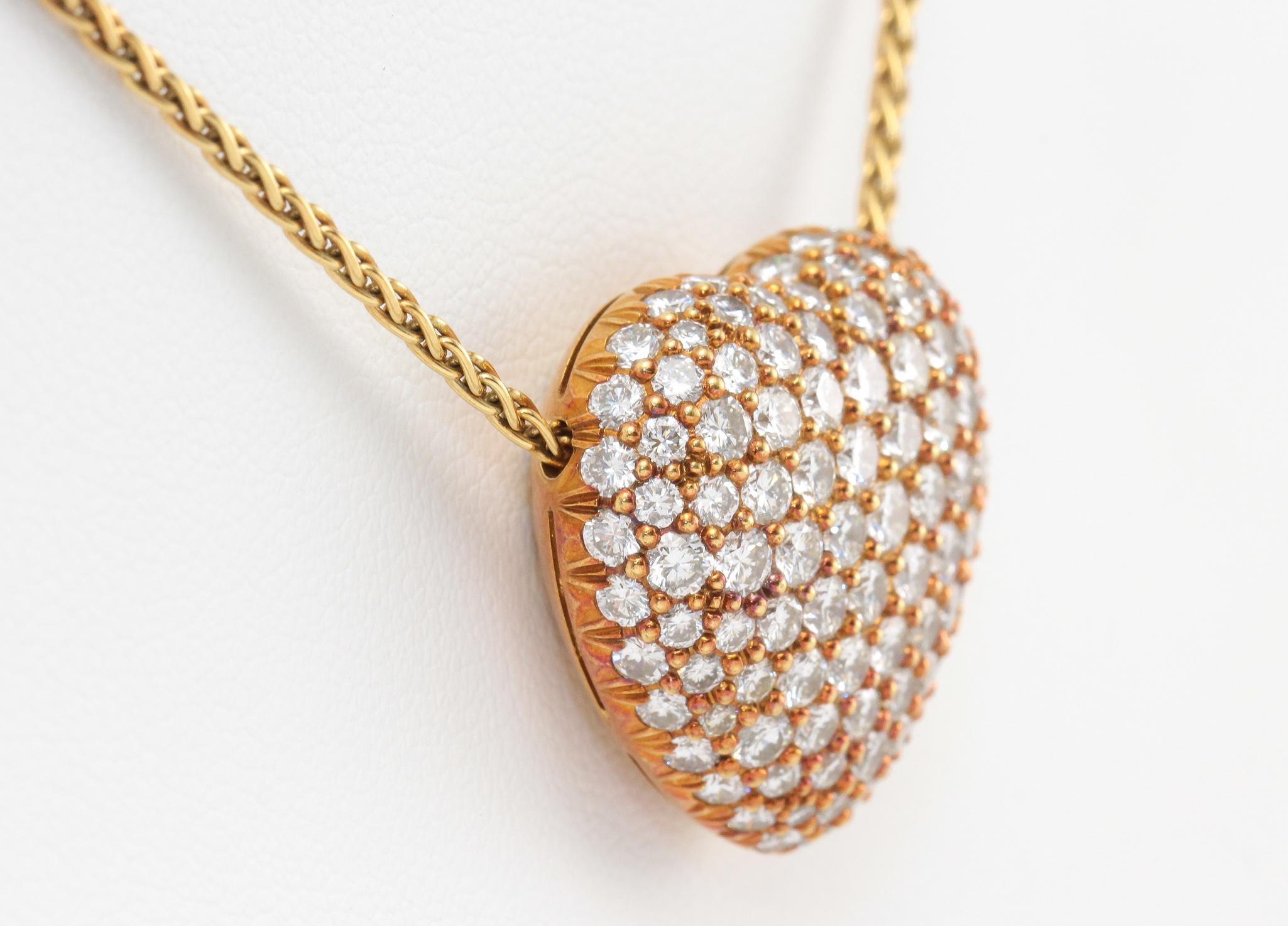 18k Kurt Wayne Diamond Heart Pendant Necklace Yellow Gold