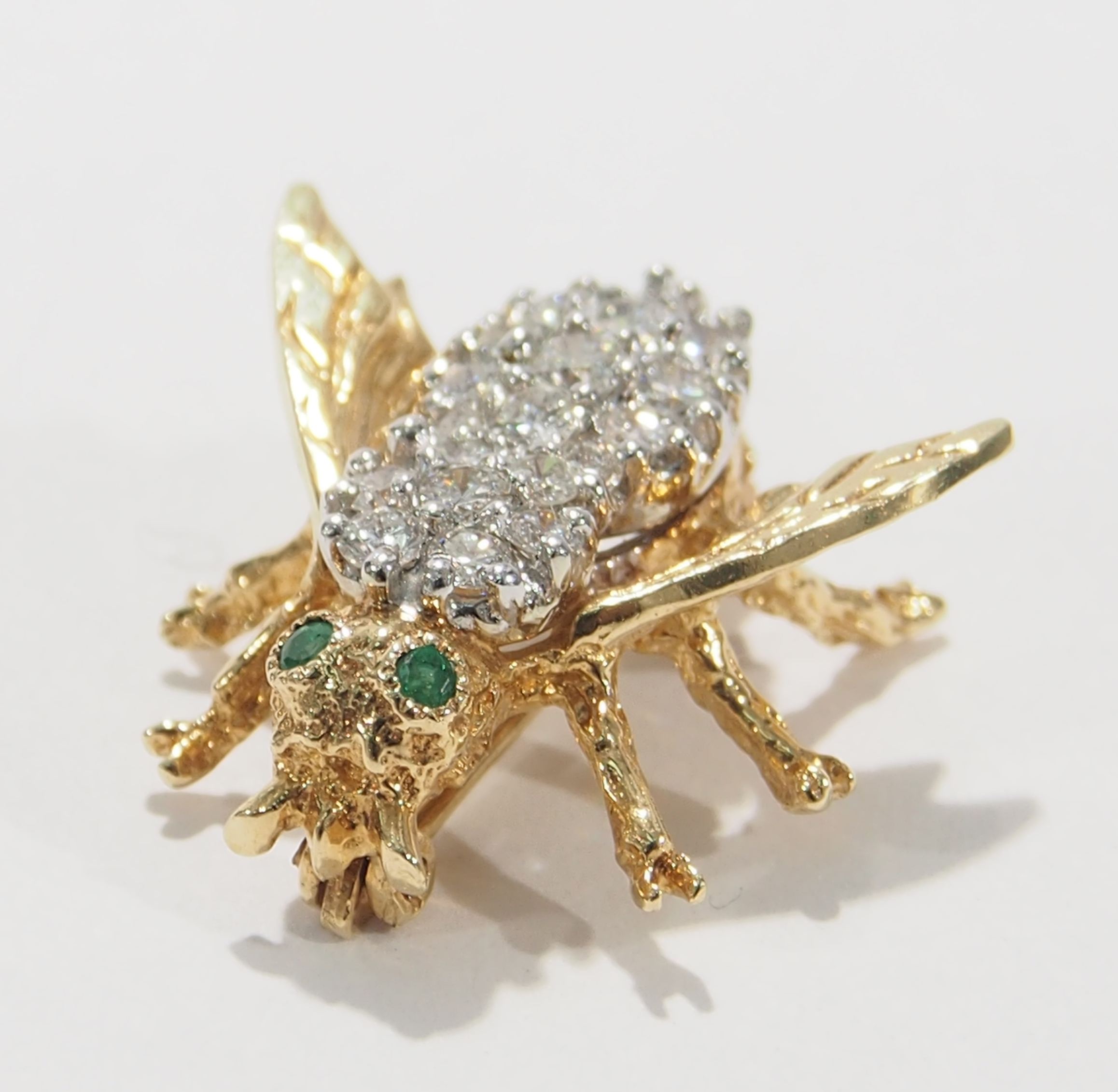 Jewelry & Watches 14k Gold Emerald And Diamond Fly Pin Brooch Buy One Get One Free Fine Jewelry