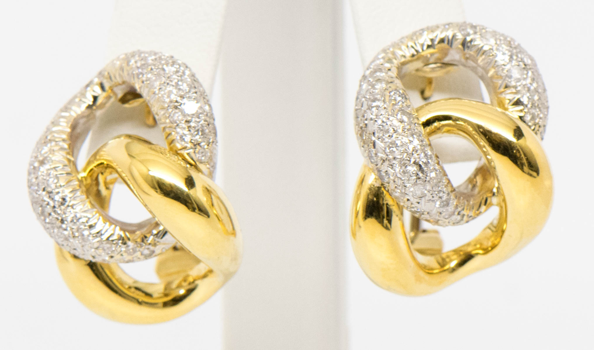 18K Diamond Earrings Link White Yellow Gold